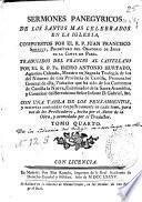 Libro de Sermones Panegyricos De Los Santos Mas Celebrados En La Iglesia
