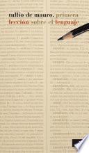 Libro de Primera Lección Sobre El Lenguaje
