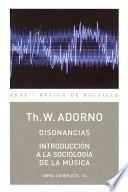 Libro de Disonancias / Introducción A La Sociología De La Música