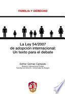 Libro de La Ley 54/2007 De Adopción Internacional