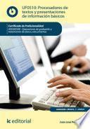 Libro de Procesadores De Textos Y Presentaciones De Información Básicos. Adgg0508