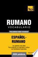 Libro de Vocabulario Español Rumano   5000 Palabras Más Usadas