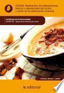 Libro de Realización De Elaboraciones Básicas Y Elementales De Cocina Y Asistir En La Elaboración Culinaria. Hotr0108