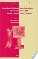 Libro de Proceedings Of The Twelfth British Conference On Judeo Spanishstudies, 24 26 June, 2001