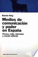 Libro de Medios De Comunicación Y Poder En España